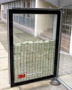 Werbung für bruchsicheres Sicherheitsglas