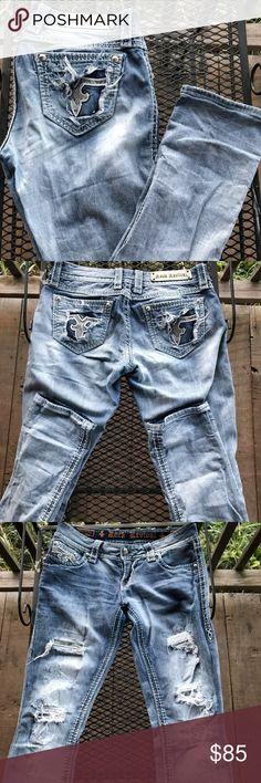 🌼NWOT Rock Revival Destroyed Denim Jeans NWOT Rock Revival Destroyed Denim Straight Leg Jeans Size 27 Rock Revival Jeans Straight Leg