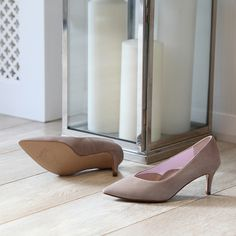 The Carmen mid heel in Taupe suede - perfect for wide feet and ladies with bunions Best Shoes For Bunions, Court Heels, Wide Feet, Taupe, Kitten Heels, Luxury, Beige