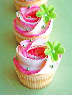 Pink n White Swirl cupcakes with green flowers