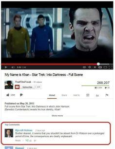 Got to love Mycroft Holmes.  Sherlock. Khan.