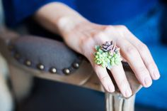 Unique living ring made from long-lasting succulents, floral ring, wedding jewelry, bridesmaid gift, organic ring.