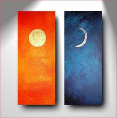 Abstrakte Kunst Diptychon Blattgold Day Night echtes Gold 22 karat Silber Orange Blau Sonne Mond Original handgemalt Sonne Mond zweiteilig. $290,00, via Etsy.