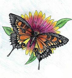 бабочка на цветке рисунок - Поиск в Google