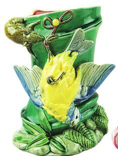 Minton Majolica, Paul Comolera designed, Vase with Bird and Mouse