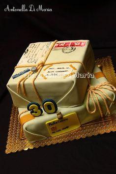 Vintage Postal Parcels Birthday Cake