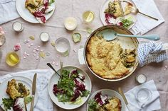This hearty Autumn dish is best served at room temperature. For a flourish on Thanksgiving, you could serve this in place of dressing, but it also doubles as a main dish for vegetarians.