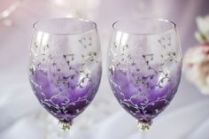 Subscribe to our Facebook and we will send you a coupon for 5%  https://www.facebook.com/DiAmoreDS/ Plum wedding wine glasses, bride and groom, silver lace, luxury traditional, toasting flutes, handmade personalized set, classic, 2 pcs  Simple but tasteful, these gorgeous plum wedding champagne glasses are created for passionate couples who do not hide their feeling.  Exclusive products from DiAmoreDS are perfect for your special day, or as a unique gift for an anniversary...