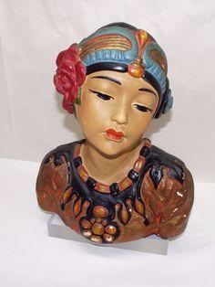 VTG LEON FIGHIERA 1920's Lovely Asian Girl Chalkware Bust Esther Hunt Era/Style