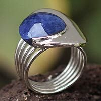 Sodalite dome ring, 'World of Blue'