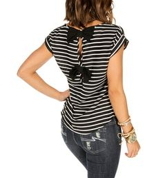 Black and White Striped Bow Back Blouse