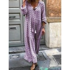 Women Floral Print Maxi Dress Boho Style Long Beach Dress Evening Party Long Dress Plus Size Vestidos Long Sleeve Maxi, Maxi Dress With Sleeves, V Neck Dress, Vestido Maxi Floral, Boho Floral Maxi Dress, Dress Flower, Floral Dresses, Vestidos Vintage, Vintage Dresses