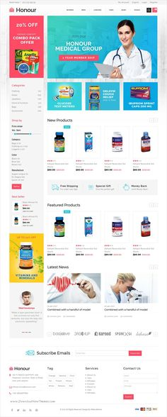 Honour is a clean and modern design responsive HTML #bootstrap template for stunning #medical shop #eCommerce website with 5 homepage layouts download now➩  https://themeforest.net/item/honour-responsive-multipurpose-ecommerce-html5-template/19441608?ref=Datasata