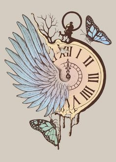 Le Temps Passe Vite (Time Flies) Poster by Norman Duenas Time Flies Tattoo, Time Tattoos, Body Art Tattoos, Sleeve Tattoos, Time Clock Tattoo, Broken Clock Tattoo, Clock Tattoos, Clock Drawings, Pencil Art Drawings