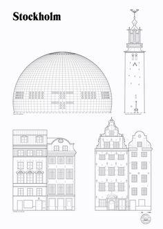 Landmark poster by Studio Esinam. Limited edition of 1000. Available in 50x70 cm. 3 Landmarks of Stockholm: Globen, Stadshuset and Stortorget, Gamla Stan.