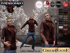 (WEAR ME) Bad Romeo Turtleneck/Jacket (The Grey Goose) secondlife, sl, avatar, men, jacket,coat,sweater,turtleneck,outfit,jeans,pants secondlife fashion lifestyle