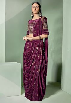 Party wear wine lycra fancy net saree with blouse raw silk and wine color. Designer sarees work zari and sequins embroidery with semi stitched festival saree. Wedding saree available with a semi-stitched lycra net blouse in wine Blouse length- 14 to 15 in Saree Draping Styles, Drape Sarees, Saree Styles, Ethnic Outfits, Indian Outfits, Fashion Outfits, Icon Fashion, Indian Attire, Indian Clothes