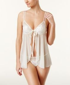 Maidenform Extra Sexy Embroidered-Lace Babydoll DM1116, A Macy's Exclusive  - White 38C