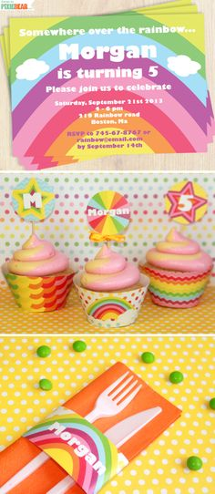DIY Pastel Rainbow Party Printables Package by PixieBearParty on Etsy