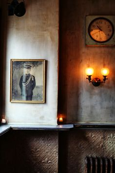 Oyster Bar via Sweet Thing Cafe Restaurant, Restaurant Design, Virginia City, Oyster Bar, Candle Sconces, Wall Lights, Candles, Photography, Painting