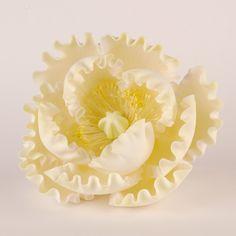 Yellow Gumpaste Peony handmade edible sugar cake decoration.  Perfect for fondant wedding cakes and birthday cakes.   CaljavaOnline.com #caljava #peony #sugarflower