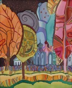 Peinture sur soie Shadowland Original encadré par FineArtSilk