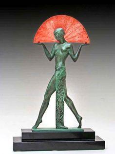 Pierre Le FAGUAYS - Max Le VERRIER Lampe sculpture bronze Art Déco...