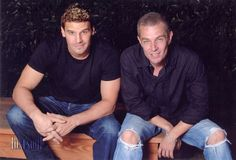 "David Boreanaz & James Marsters... Maybe I should put this on the ""Yum"" board instead :p"