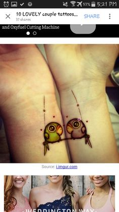 Couple tattoo idea, but like maybe smaller, simpler birds on our fingers