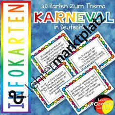 Infokarten: Karneval in Deutschland – D.a.F. / D.a.Z., Deutsch