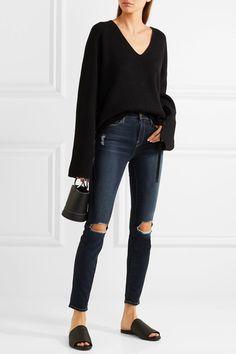 FRAME - Le High Distressed Skinny Jeans - Mid denim - 26