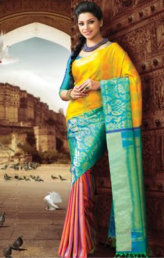 EXCLUSIVE TRADITIONAL DHOLA WEDDING COLLECTION, EXCLUSIVE NEW HALF AND HALF TOP SUNRISE YELLOW AND COPPER BLUE JAQUARD AND PINK AND PURPLE STRIPES WITH GOLD HALF AND HALF, AND ALSO COMES WITH MATCHING BLOUSE