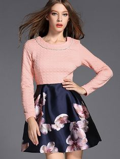 Pink Round Neck Long Sleeve Beading Print Jacquard Dress 36.99