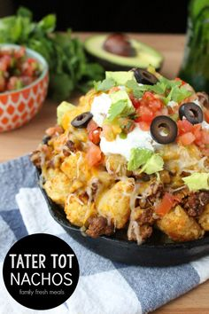 Tater Tot Nachos- made these tonight with beef, added a bit of water to taco seasoning tbsp). Made tater tots in casserole dish. didn't add enough cheese. use fresh salsa from local mexican market (added salsa and sour cream to individual plate- Mexican Food Recipes, Beef Recipes, Dinner Recipes, Cooking Recipes, Easy Recipes, Nacho Recipes, Cooking Ideas, I Love Food, Good Food