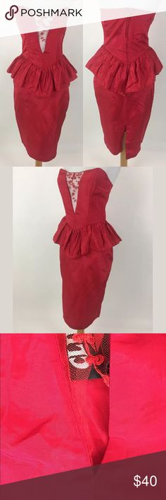 """Climax by David Howard pinup retro dress The mesh panel in the middle of the bust is torn loose. Please see picture. Size is estimated. Please check measurements.  Waist: 26"""" Bust: 31.5"""" Bust to hem: 35.5"""" Polyester & Nylon   Item #1592 Climax Dresses Strapless"""