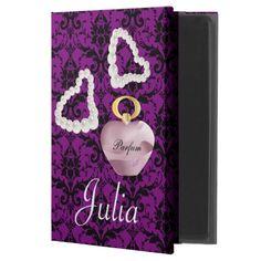 Parfum & Pearls Purple Wine & Black Damask iPad Air 2 Case by #MoonDreamsMusic #iPadAir2Case #ParfumAndPearls #PurpleWineAndBlackDamask