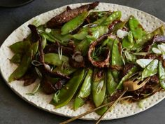 Chili Beef Stir-Fry with Scallions and Snow Peas from CookingChannelTV.com
