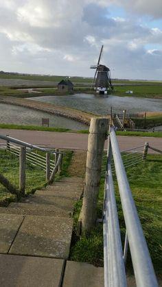 Poldermolen ten noorden van Oosterend Texel (The Netherlands)