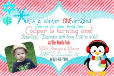 Winter ONEderland Birthday Invitation 2 - RED or PINK - Printable - 4x6, Penguin, by GoodHue Designs