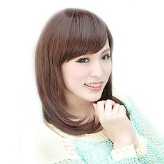 Side Bangs Medium Long Straight Hair Wig(Dark Auburn)