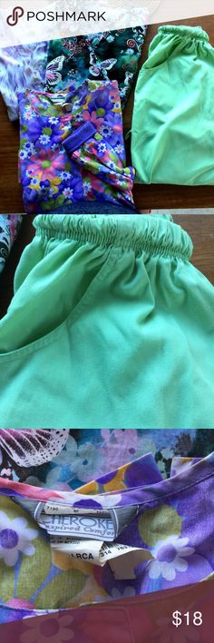 4 Scrubs: 2 Tops 1 Jacket 1 Pants varied medium Great deal  Two scrub tops, one jacket and a pair or pants.  They are checked for stains and tears.  Some pilling on sleeves of jacket (see photo).  All labeled Medium but I have not measured. All clean but they will need ironing.  Varied brands and styles.  will add a lot color and variety to your uniform wardrobe.  👉  sold as lot only.  SORRY but No individual pieces 👈.  You can always reposh! varied Other