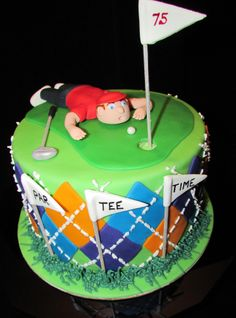 Golf cake - Birthday cake for a man turning 75. Argyle made from fondant with royal icing stitching. Man and flags are gum paste.