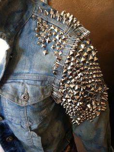 studded jacket studded jean jacket with safety by prettyghoulish, $125.00