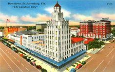 Downtown St Petersburg, Showing Suwannee Hotel, Walgreen Bldg., Post Office and Princess Martha Hotel [1944]