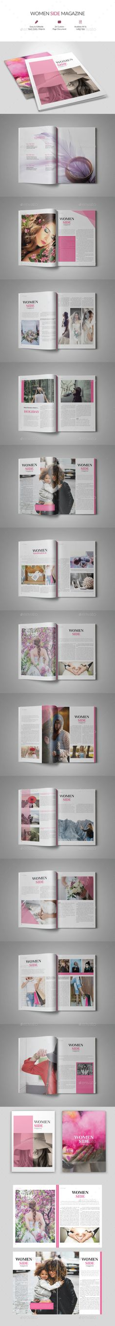 Women Side Magazine Template InDesign INDD - 26 Pages