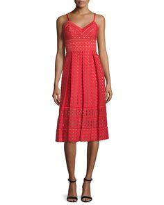 Sleeveless Circle-Eyelet Dress, Women's, Size: 10, Crimson/Brown - Catherine Deane