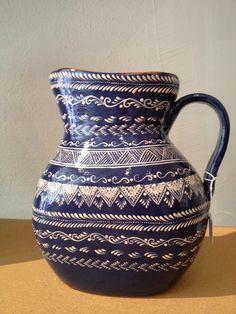 Blue Mexican Folk Art Pitcher from Capula