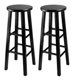 Home Bar Stools 29 Inches Set of 2 Wooden Black Wood Kitchen Counter Seat Dining | eBay