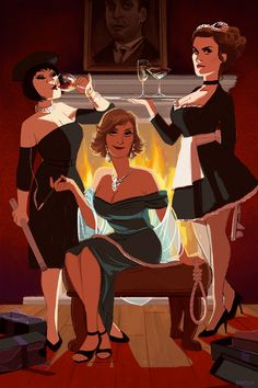 "Madeline Kahn, Lesley Ann Warren and Colleen Camp, as in the film ""Clue"" Clue Movie, I Movie, Sirens, Detective, Character Art, Character Design, Character Reference, Colleen Camp, Mystery Parties"