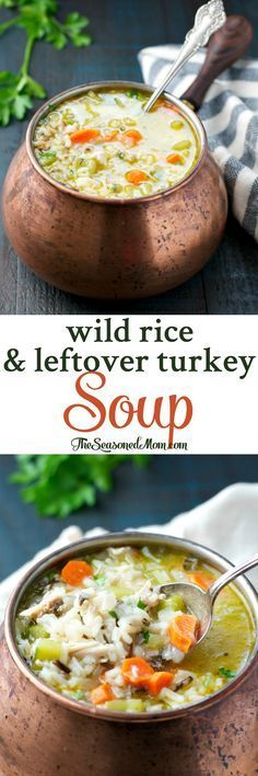 This Wild Rice and Leftover Turkey Soup is a healthy and easy dinner thats ready with only 15 minutes of prep. Simple comfort food at its best! chicken recipes dinners,cooking and recipes Soup Recipes, Dinner Recipes, Cooking Recipes, Chicken Recipes, Wild Rice Recipes, Recipies, Leftover Turkey Soup, Leftover Rice, Turkey Soup With Rice